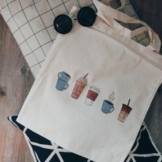 Tote bag with coffee print! LOVE Now on Etsy