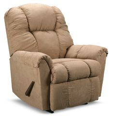 Welcome Home. Our microfibre Benson rocker recliner is perfectly proportioned to deliver maximum comfort. The handle-activated style allows you to gradually and effortlessly recline into many positions. The wide base stance, versatile beige colour and superior softness enhance this welcoming chair.