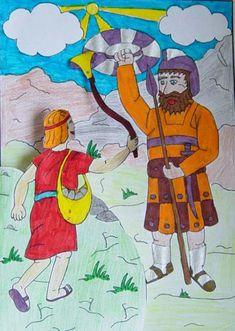 1 Samuel 17: David en de reus Goliath. Er zijn twee varianten van deze knutsel.