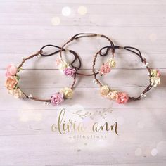 Listing is for a dainty flower boho crown~  This delicate halo is made of a wire vine headband and soft peaches, pink, cream, green paper