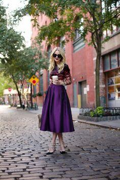 J Brand leopard print top, Tibi Full skirt, Valentino Rockstud pumps #StreetStyle