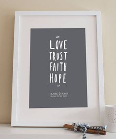 'love trust…' personalised wedding print by old english company | notonthehighstreet.com