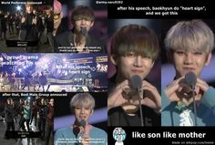V, your mom give you love back T.T sync hand gesture and similar faces tho XD   allkpop Meme Center