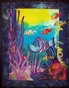 Quilt Inspiration: Quilt Inspiration classics: Aquarium quilts and seascapes Ocean Quilt, Fish Quilt, Beach Quilt, Mermaid Quilt, International Quilt Festival, Animal Quilts, Landscape Quilts, Applique Quilts, Batik Quilts