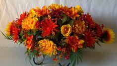 Autumn Themed Headstone Saddle Arrangement – GravesideFlowers.com
