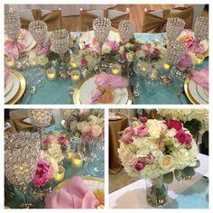 table centerpieces ranuculus | Pink, Aqua & Gold: Tabletop Inspiration | Jen's Blossoms Blog
