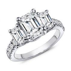 1.45 Carat Emerald Cut Diamond Engagement Ring