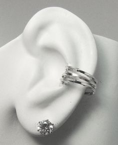 POST Pierced Conch Cartilage Earring, Silver Hex Ring,Gauge Piercing, Inner Ear Piercing, Conch Piercing, Body Jewelry, Triple Twist E3TWSSP