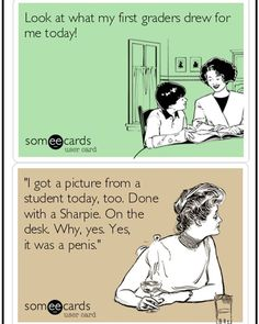 The difference between an & getting artwork from a student. Classroom Humor, Teacher Problems, Elementary Teacher, Getting Old, Teacher Stuff, Student, Teaching, Memes, Artwork