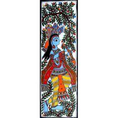 COLORED KRISHNA http://www.indiancraftsmen.com/art-c4ca4238a0b923820dcc509a6f75849b/madhubani/colored-krishna-
