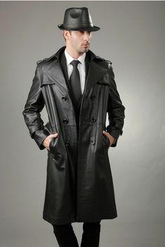 Brand New Men's Genuine Real Soft Lambskin Leather Trench Coat Long Jacket Mens Leather Coats, Best Leather Jackets, Lambskin Leather, Black Leather, Leather Trench Coat, Long Trench Coat, Sherlock Coat, Sharp Dressed Man, Fashion Moda