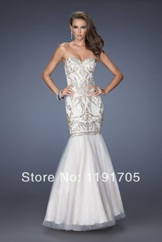2014 New style free shipping modern sweetheart strapless white long prom dress with beading for party,wedding $139.00