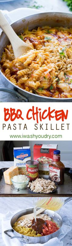 Chicken Pasta Skillet This cheesy one skillet BBQ Chicken Pasta is so easy to make! The pasta cooks in the skillet!This cheesy one skillet BBQ Chicken Pasta is so easy to make! The pasta cooks in the skillet! Bbq Chicken, Chicken Pasta, Chicken Recipes, Skillet Chicken, Cheesy Chicken, Chipotle Chicken, Shrimp Pasta, Rotisserie Chicken, Pasta Recipes