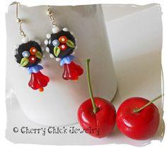 Poppy Flower Beaded Earrings