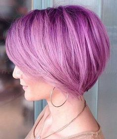 Trendy Pink Purple Bob Hair for Girls
