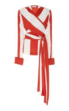 Striped Stretch-Silk Blouse by MONSE Now Available on Moda Operandi Classy Outfits, Stylish Outfits, Trendy Dresses, White Silk Blouse, White Blouses, Drape Blouse, Silk Blouses, Silk Slip, Kpop