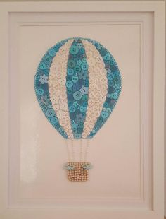 Hot Air Balloon Picture Button Art Nursery Turquoise/Aqua