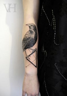 bird and triangle by valentin hirsch #arm #forearm #tattoos