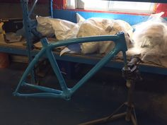Colnago CLX  Custom Paint Project Sky Blue as a base colour getting ready to add metallic blue for accents on this project, another in process custom paint project with our bicycle team at CarbonWork for March 2017