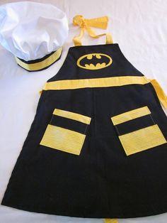 Child Batman costume apron set by AJsCafe on Etsy