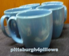 5 - Corelle - Medium Blue Coffee Cups / Mugs - Some Wear  - Price Is For All - 4 x 3 - 12 Ozs by pittsburgh4pillows on Etsy