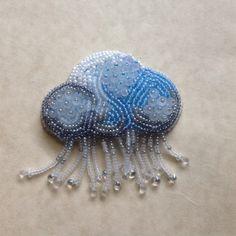 It's raining seed bead embroidered elegant brooch pin