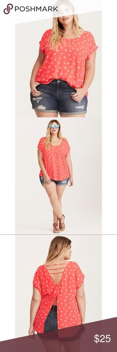 "NWT Torrid Dandelion Top No need to wish on a dandelion IRL; you've already got this top! The coral georgette is a crisp pop of color, while the dancing dandelion print is so sweet. The back brings the sex appeal, however; the multi-strap cutout leads to a split back, both of which show off some major skin.   Model is 5'10"", size 1 Size 1 measures 29 1/4"" from shoulderPolyesterWash cold, dry lowImported plus size top torrid Tops Blouses"