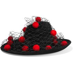 Philip Treacy Pompom-embellished veiled wool-felt hat ( 1 70390e4705b9