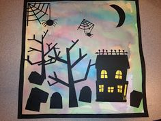Halloween Silhouettes: watercolor backgound; black border; use premade cutouts or have students cut out their own shapes.
