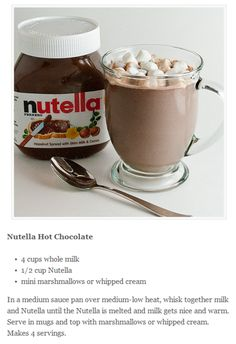 nutella hot chocolate---this is going down TONIGHT!