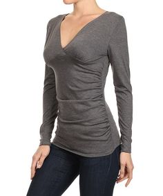 Look at this #zulilyfind! Charcoal Ruched V-Neck Top by J-Mode USA Los Angeles #zulilyfinds