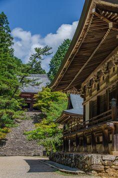 From back side, Kon-do, Godai-do, and Bishamon-do of Jingo-ji Temple, Takao, Kyoto, Japan. 奥から、金堂、五大堂、毘沙門堂を神護寺で撮影しました。