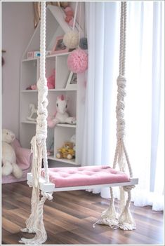 florists OhSwing Swing Medium on childrens ropes 60 x 25 cm. Elegant swing on ropes with padded seat in powder pink color. The swing can be a beautiful decoration in a nursery or living room Girl Bedroom Designs, Room Ideas Bedroom, Bedroom Decor, Design Bedroom, Cute Room Decor, Baby Room Decor, Room Decor For Girls, Ikea Girls Room, Kids Room