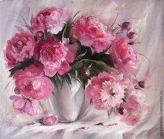 """Купить картина """"Розовые пионы"""" - розовый, пионы, пионы в вазе, картина, картина в подарок"""