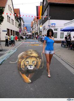 Cool 3D Street Art Illusions - The Lion - News - Bubblews