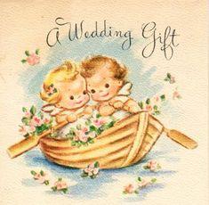 Vintage Wedding Cards, Vintage Valentine Cards, Vintage Greeting Cards, Vintage Postcards, Vintage Pictures, Vintage Images, Baby Painting, Old Cards, Baby Clip Art
