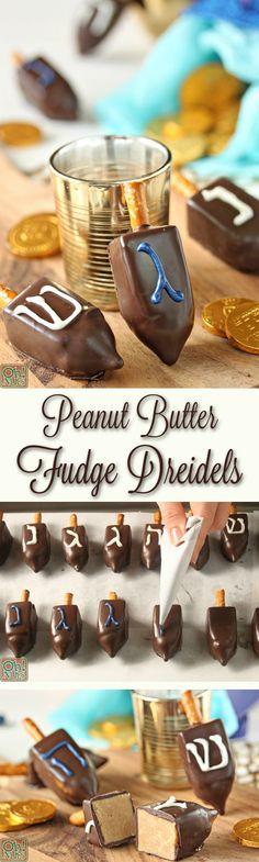 Peanut Butter Fudge Dreidels | From OhNuts.com