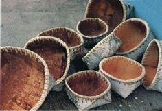 Birch bark baskets.