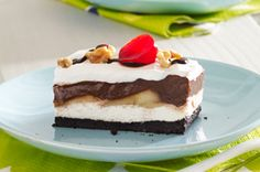 Chocolate-Banana Split Dessert Recipe - Kraft Recipes TDS:o) Frozen Desserts, No Bake Desserts, Just Desserts, Dessert Recipes, Icebox Desserts, Icebox Cake, Dessert Food, Cake Recipes, Kraft Recipes