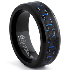 Oliveti Black Titanium Men's Black and Blue Carbon Fiber Comfort Fit Band (8mm) | Overstock.com Shopping - Big Discounts on Men's Rings