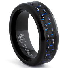 Oliveti Black Titanium Men's Black and Blue Carbon Fiber Comfort Fit Band (8mm) | Overstock.com Shopping - Big Discounts on Men's Rings