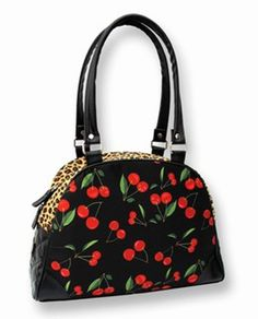 Rockabilly-Pin up Accessories- Bowling Bag - Leopard/Cherry's