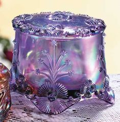 fenton glass | Fenton Art Glass Violet Treasure Box by elva
