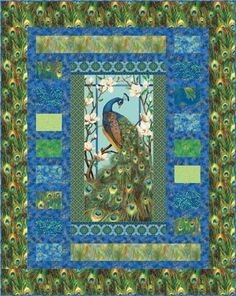 "Grand Stand - PTN866  Kari Nichols of Mountainpeek Creations  Based on Peacock Paradise II collection - by Deborah Edwards Northcott Studio    Size: 54-1/2"" x 67-1/2""  www.mountainpeekcreations.com"