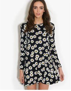 Ribbon Daisy Print Swing Dress