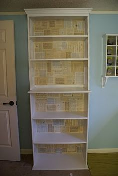 decoupage book pages inside shelves- it would be cute to do recipe books inside the pantry! Decopage Furniture, Diy Furniture Projects, Repurposed Furniture, Furniture Makeover, Cardboard Furniture, Painted Furniture, Wallpaper Bookshelf, Book Wallpaper, Painted Bookshelves