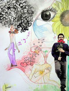 lá vem o homem da gravata florida | Flickr - Photo Sharing!  #drawing #aquarela