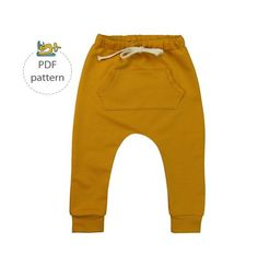 This is a sewing pattern and tutorial for a childs harem pants in size range: 62 (0-3 months) to 110 (4-5 years). The baby harems are not only looking cool with their drop crotch and baggy style, they are also super comfortable. You can add an optional front pocket and drawstring to