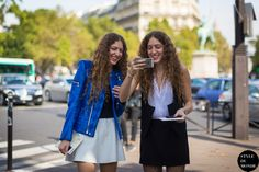 New post on http://www.styledumonde.com with Sama Abu Khadra #SamaAbuKhadra & Haya Abu Khadra #HayaAbuKhadra before #MiuMiu #ss14 #fashionshow at #parisfashionweek #pfw #pfwss14 wearing Blue Velvet Jacket #blue #velvet #jacket #vest #outfit #ootd curly hair... #streetstyle #streetfashion #streetchic #fashion #mode #style #Paris #weloveit #picoftheday  #bestoftheday #lookoftheday. Photo by #styledumonde
