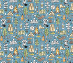 Outdoors Camping Woodland Doodle with Campfire, Raccoon, Mountains, Trees, Logs on Dark Blue Navy fabric by caja_design on Spoonflower - custom fabric